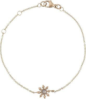 Natalie Perry Jewellery Pulseira floral de ouro 9k com diamante - Dourado