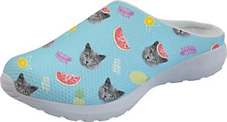 Coloranimal Air Mesh Quick Dry Garden Clogs Shoes for Women Girls Kawaii Cat with Fruits Printed Backless Memory Foam Sandals Outdoor Beach Slippers