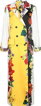 Oscar De La Renta floral print silk double-breasted coat - White
