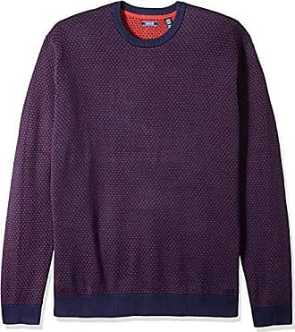 Izod Mens Big and Tall Jacquard 9 Gauge Crewneck Sweater, Real red, X-Large