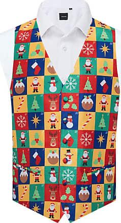Dobell Mens Multicoloured Advent Calendar Christmas Waistcoat-5XL (62-64in)