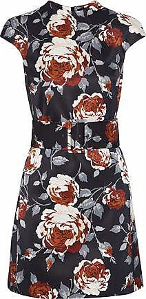 Theory Theory Woman Belted Floral-print Satin-faille Mini Dress Black Size 10