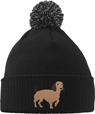 HippoWarehouse Dachshund Embroidered Beanie Hat with Bobble Black