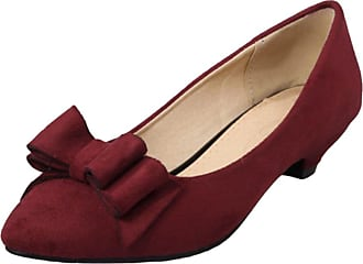 YOUJIA Womens Low Cone Heel Court Shoes Pointed-Toe Slip On Dolly Party Evening Office Shoes with Bows (Wine Red, CN 40 / EU 39)