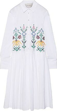 2be19ee12f Carolina Herrera Carolina Herrera Woman Embroidered Cotton-blend Poplin  Midi Shirt Dress White Size 10