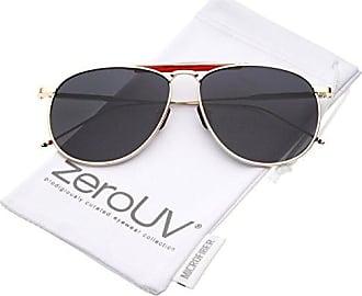 abc2a17fd zeroUV Oversize Metal Double Nose Bridge Ultra Slim Temple Flat Lens Aviator  Sunglasses, Gold Red
