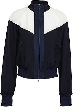 3.1 Phillip Lim 3.1 Phillip Lim Woman Paneled Shell And Wool-blend Jacket Midnight Blue Size 10
