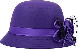 Saoye Fashion Hats Bell Hat Ladies Elegant Autumn Winter Felt Hat Hat Easy to Match Bowler with Flowers Woolen Trilby Caps (Color : Lila, Size : One Size)