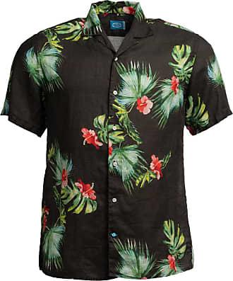Panareha Camicia Aloha di lino HONOLULU nero