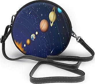 Turfed PU Round Shoulder Bag Lovely Space Solar System with Sun Uranus Venus Jupiter Mars Pluto Saturn Neptune Image Orange Crossbody Bag