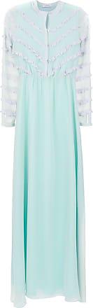OLYMPIAH Vestido longo Damasco Mix - Azul