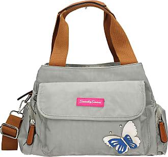 Swankyswans Madison Womens Ladies Designer Multi Zip Shoulder Day Bag with 3d Butterfly Motif - Lite Grey