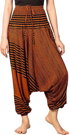 Lofbaz Womens Stripe Printed Smocked Waist Harem 2 in 1 Jumpsuit Pants Orange L