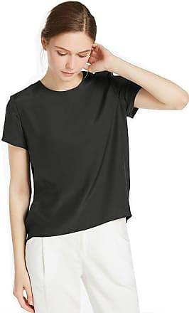 LilySilk Womens Charmeuse Silk T Shirt Tunic Blouse Top Ladies Short Sleeve 22 Momme Pure Silk (XXL/20-22, Black)