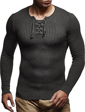 LEIF NELSON Mens Pullover Knit Sweater fine Knit Crew Neck LN-1605 Anthracite Black XX-Large