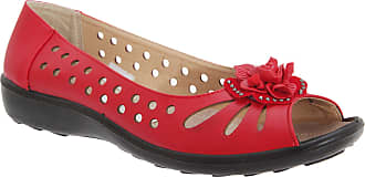 Boulevard Punched Open Toe Flower Casual - Russet - Russet - size UK Ladies Size 6