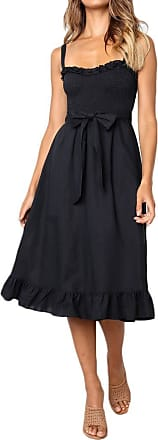 NPRADLA Dresses for Women Ladies Summer Sexy Maxi Boho Ruffles Dresses Petite Dresses Beach Dress Black Dress Party Dress Cocktail Dresses