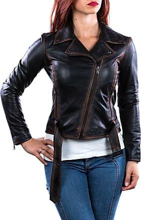 Leather Trend Italy Chiodo Donna - Giacca in Vera Pelle con Cintura colore Nero Asportato