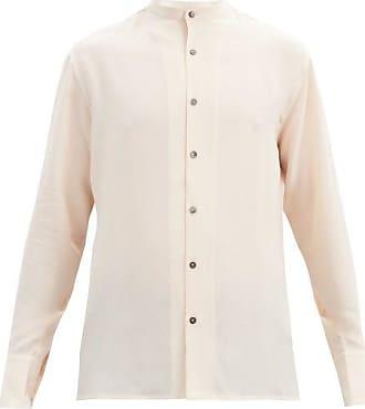 73 London Collarless Silk Crepe De Chine Shirt - Mens - Beige
