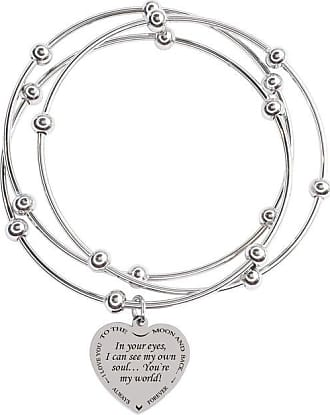 Pink Box Double Layer Inspirational Cable Bangle with Ball Tip Love Between Grandma Silver