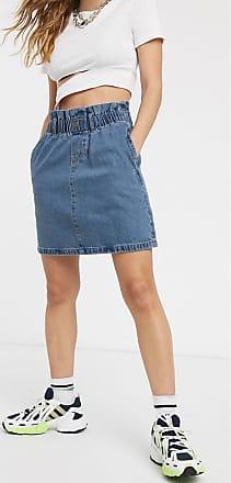 Noisy May Minigonna di jeans con vita raccolta con cintura blu