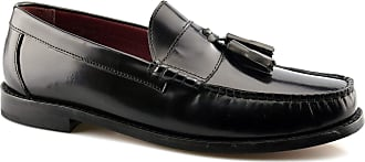 Ikon Mens Original Leather Sole Slip On Tassel Loafers Formal Shoes Size - Black - UK 11
