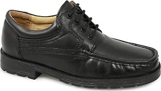 Roamers Mens Black Soft Leather 4 Eye Apron Gibson Shoe - Black - size UK Mens Size 11