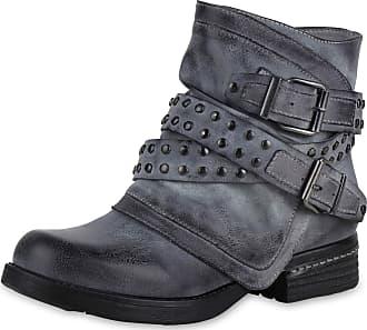 Scarpe Vita Women Bootee Biker Boots Lightly Lined Rivets Buckle 170058 Grey UK 3.5 EU 36