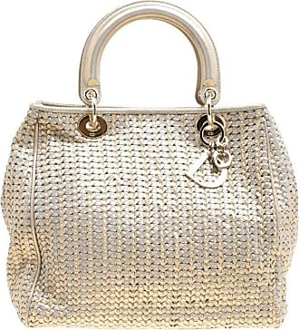c7a7a3257ba0 Dior Dior Metallic Gold Woven Leather Medium Soft Lady Dior Tote
