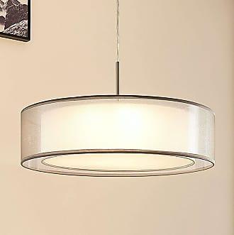 Lindby Lámpara colgante tela Amon, LEDs atenuables, gris