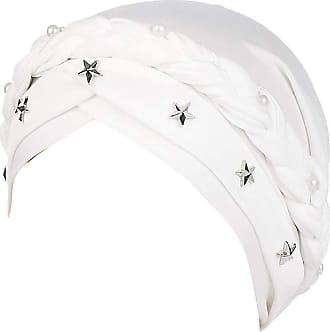 Laisla Fashion Women Baotou Hat with Star Headgear Classic Chemo Bandana for Cancer Chemotherapy Hair Loss Sleep Make Up Muslimischee Headscarf (Color : White, One S
