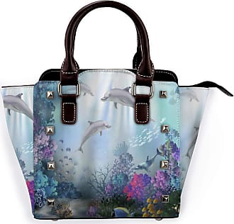 Browncin Ocean Clear Undersea World Sea Animal Dolphin Colorful Corals Reefs And Tropical Fishes Detachable Fashion Trend Ladies Handbag Shoulder Bag Messenger