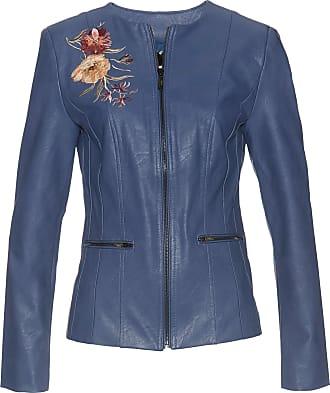 Bonprix Lederimitat-Jacke mit Applikation langarm blau, bonprix