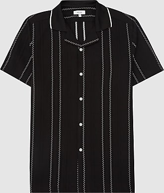 Reiss Vamos - Embroidered Short Sleeve Shirt in Black, Mens, Size XL