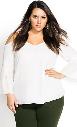abedae84491d0a City Chic Simple Bell Top - Cream - Size 14   XS by City Chic