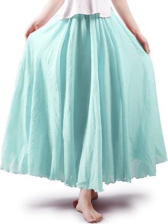 OCHENTA Aeslech Womens Bohemian Style Elastic Waist Band Cotton Linen Floor Length Maxi Skirt Water Blue 95cm