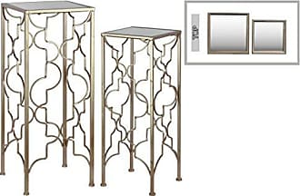 Urban Trends Collection Urban Trends Metal Accent Table with Mirror Top and Square Base Metallic Finish (Set of 2), Gold