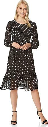 Roman Originals Women Shirred Bodice Polka Dot Midi Dress - Ladies Day Smart Casual Work Spring Summer Round Neck Long Sleeve Lightweight Chiffon Elasticated Frill Te