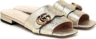 Gucci Double G metallic leather slides