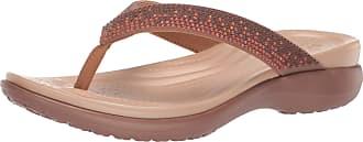 Crocs Womens Capri V Diamante Flip Flop, Melon Ombre/Bronze, 9 UK