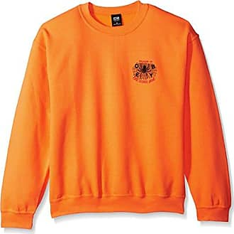 Obey Mens Welcome to The Other Side Crew Neck Fleece Sweatshirt, Safety Orange, L