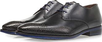 Floris Van Bommel Schwarzer Kalbsleder-Schnürschuh mit gelasertem Muster, Business Schuhe, Handgefertigt