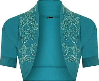 Momo & Ayat Fashions Momo Fashions-Ladies Short Sleeve Beaded Shrug Bolero Sizes 8-14 Teal
