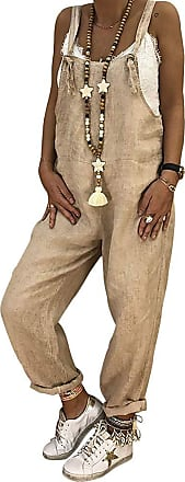 TOMWELL Womens Dungarees Loose Oversized Overall Strap Sleeveless Long Playsuit Jumpsuit Trousers Pants Khaki UK 16