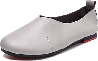 NOADream Women Mocassins Loafers Flats Soft Leather Shoes Lightweight Comfy Office Work Walking Shoes Fashion Driving Casual Shoes Gray
