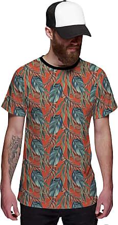 Di Nuevo Camiseta Masculina Floral Laranja com Folhas Verdes