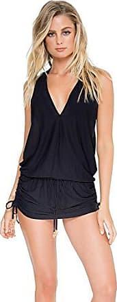 Luli Fama Womens Cosita Buena Racerback Mini Cover-Up Dress, Black, Large