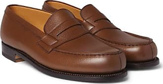 68add8413fc J.M. Weston 180 The Moccasin Grained-leather Loafers - Brown