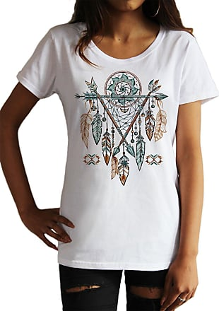 Irony Womens Top Tribal Red Indian Native American Feathers Dream Catcher TS1165 (White, Medium)