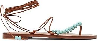 ÁLVARO GONZÁLEZ X Kim Hersov Kaiah Beaded Leather Sandals - Womens - Tan Multi